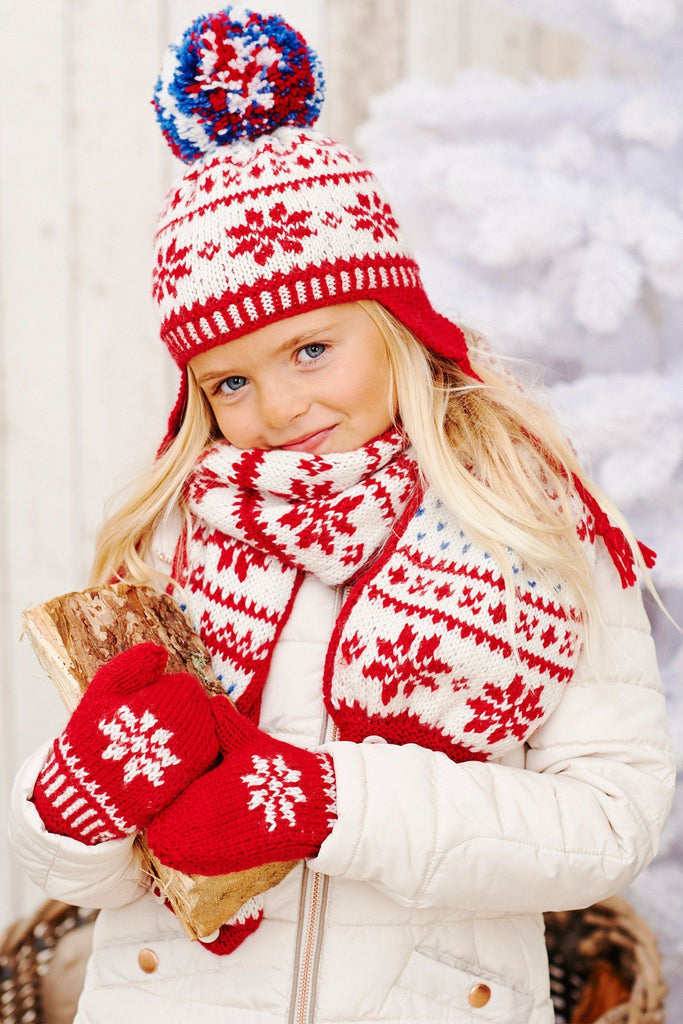 Free Knitting Pattern For Cushion Cover : Kids Fair Isle Hat, Mittens And Scarf Knitting Patterns   The Knitting Network