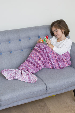 Purple mermaid tail blanket for children