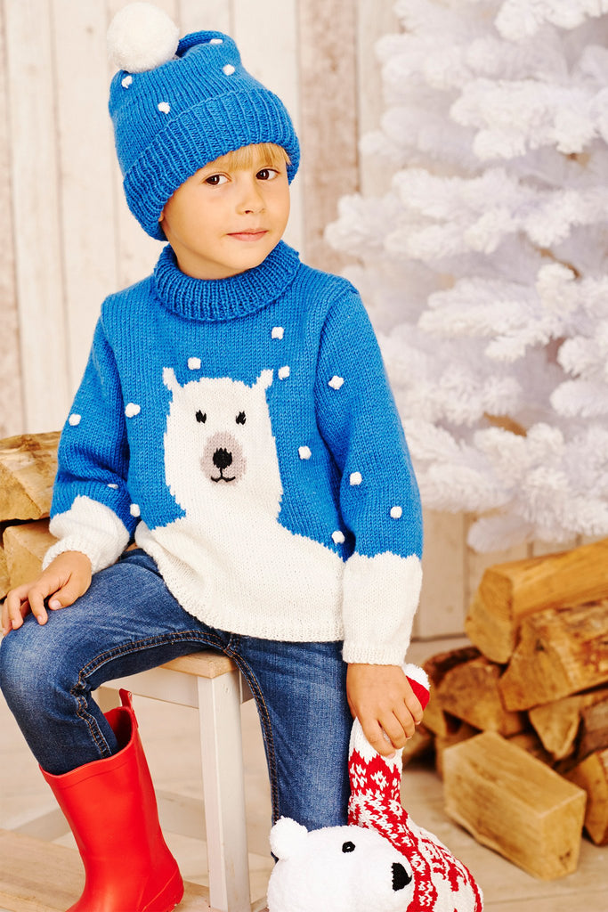 Children's knitted polar bear sweater and matching hat