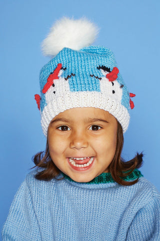 Child's knitted hat with snowmen motif around the crown