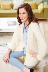 Women's knitted cardigan with cable edgings