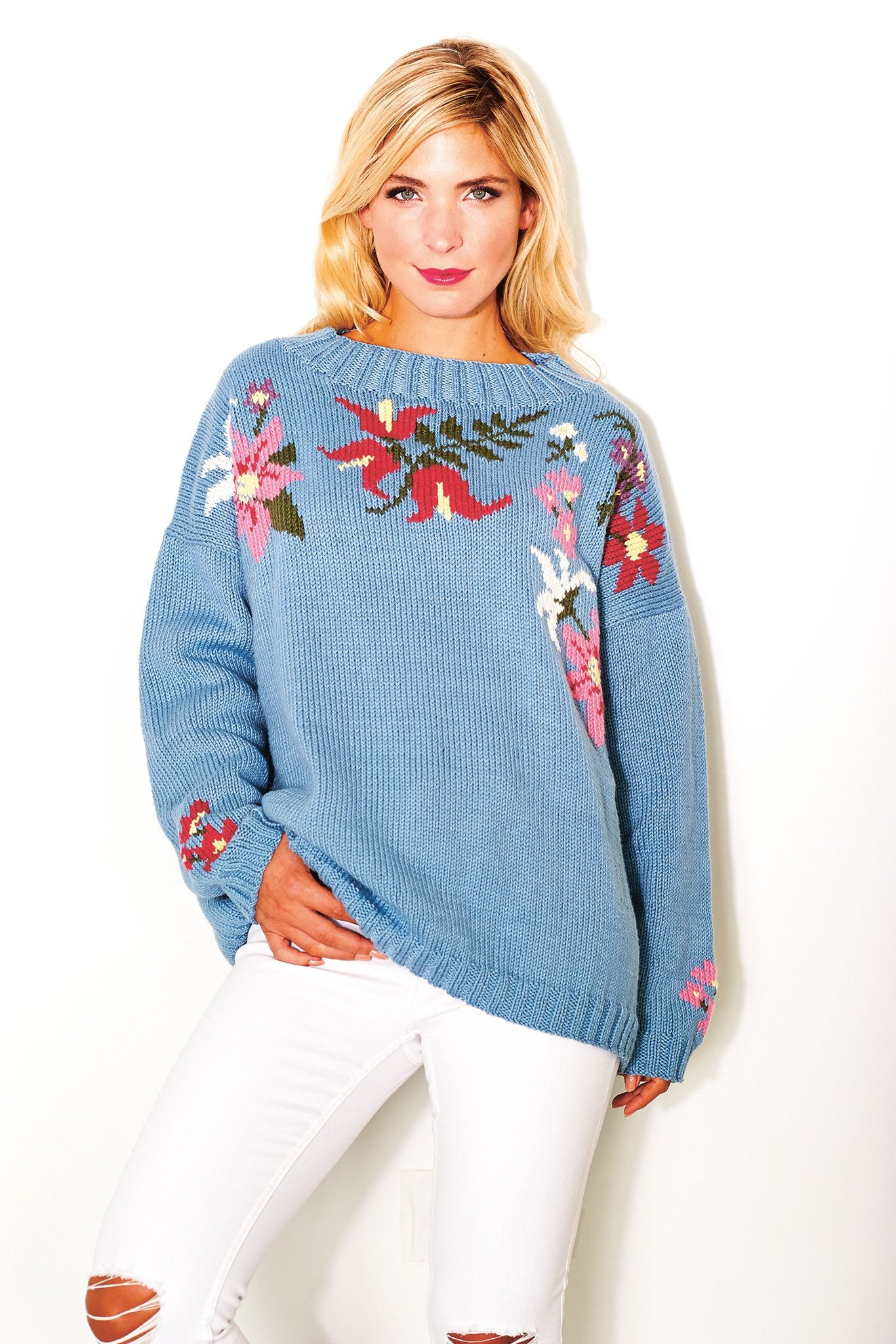 Ladies Floral Jumper Knitting Pattern – The Knitting Network