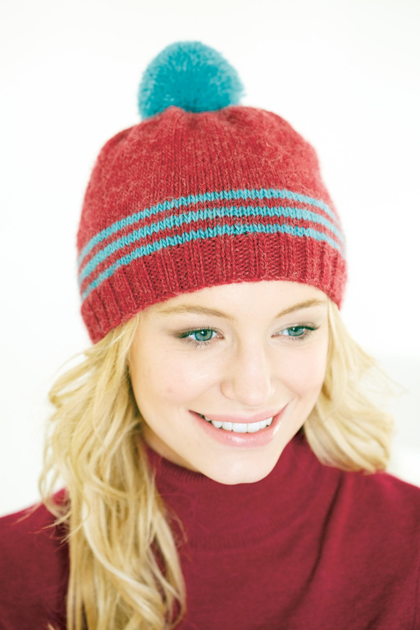 Ladies hat with stripes and pompom knitting pattern the knitting ladies hat with stripes and pompom knitting pattern bankloansurffo Gallery