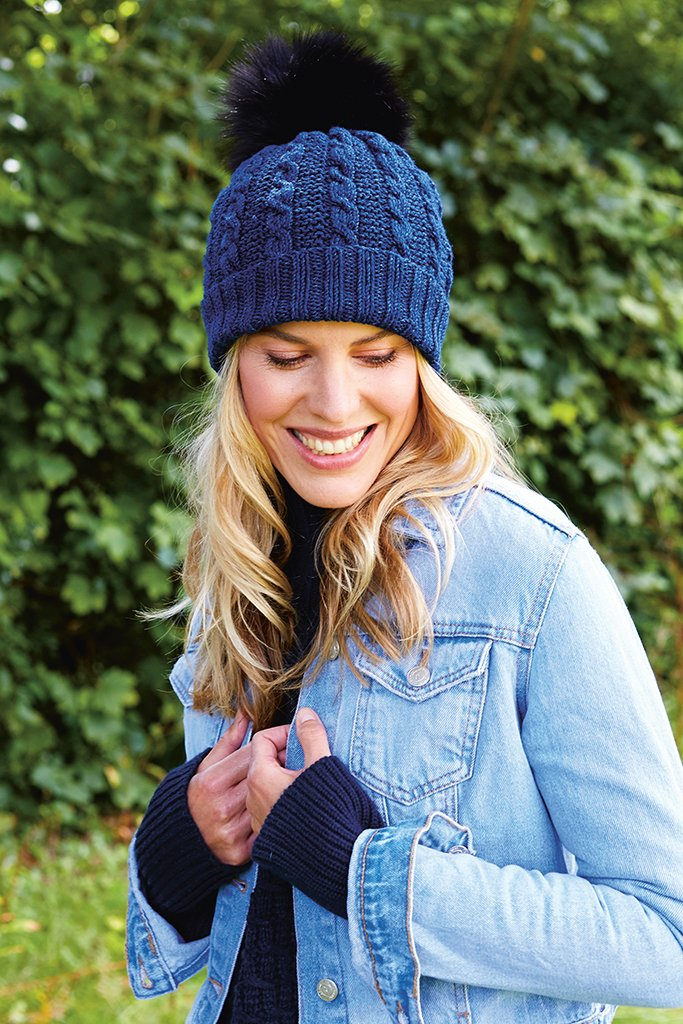 Ladies Cable Pom Pom Hat Knitting Pattern The Knitting Network