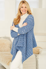 Long knitted cardigan wrap in large looseweave lace design