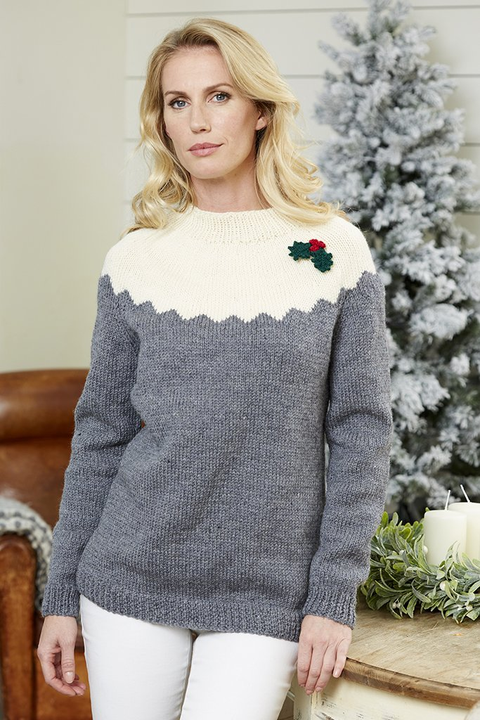 Ladies Christmas Holly Jumper Knitting Pattern – The Knitting Network