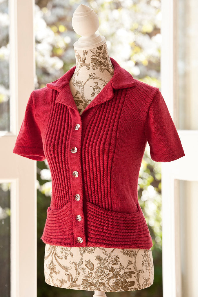 Textured retro short sleeve cardigan jacket with ribbing front panel