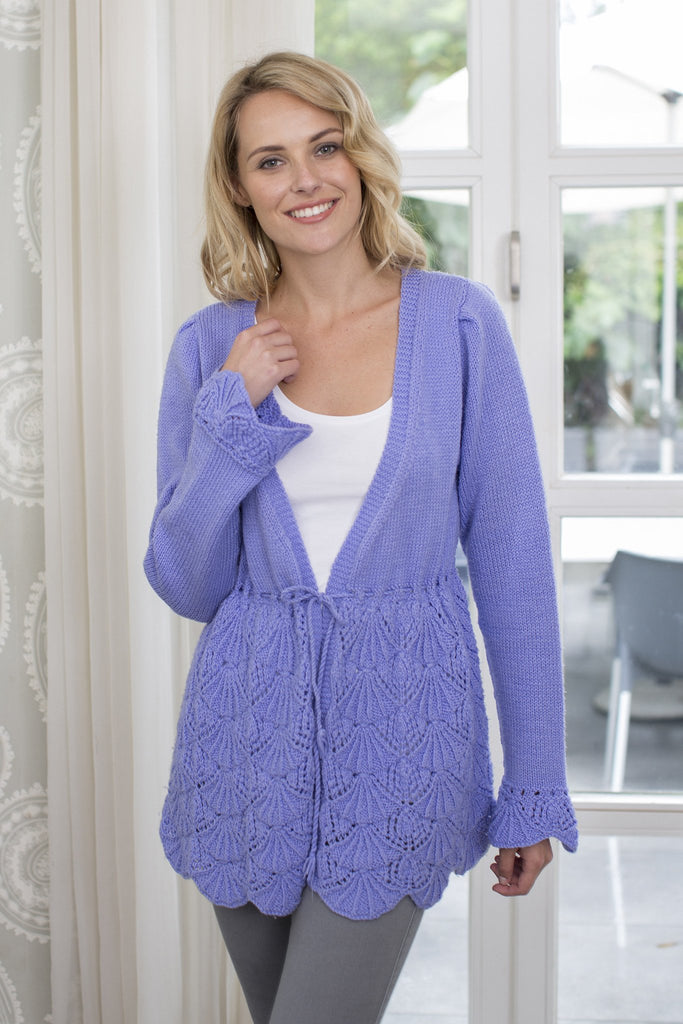 Lace Cardigan Knitting Pattern : Ladies Lace Cardigan With Scallop Hem Knitting Pattern   The Knitting Network