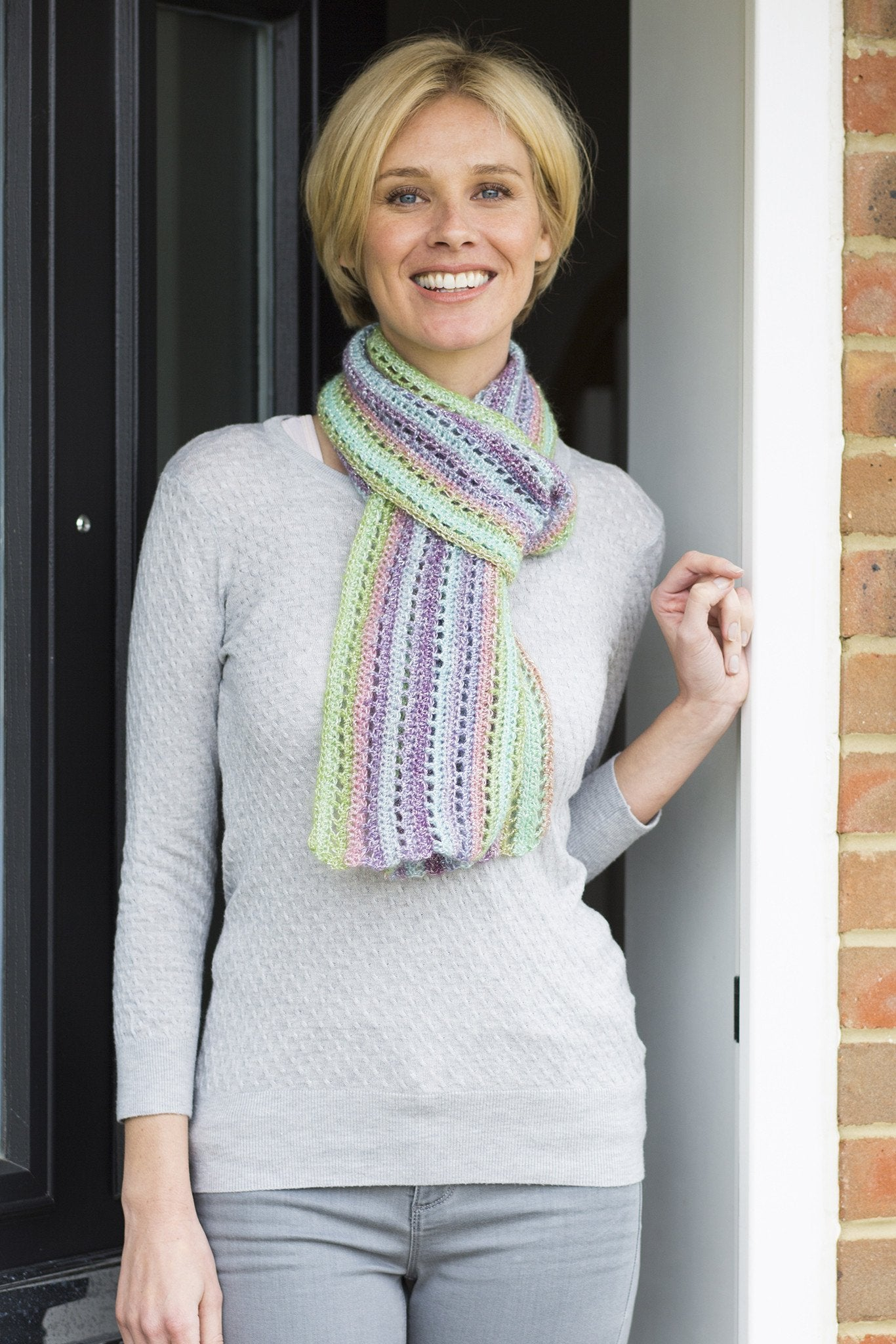 Ladies Lace Striped Scarf Crochet Pattern – The Knitting Network