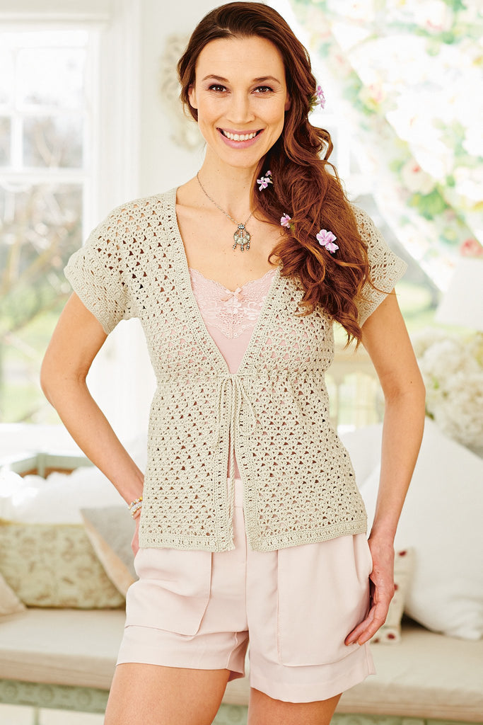 Crocheted women's top with short sleeves and drawstring under bust