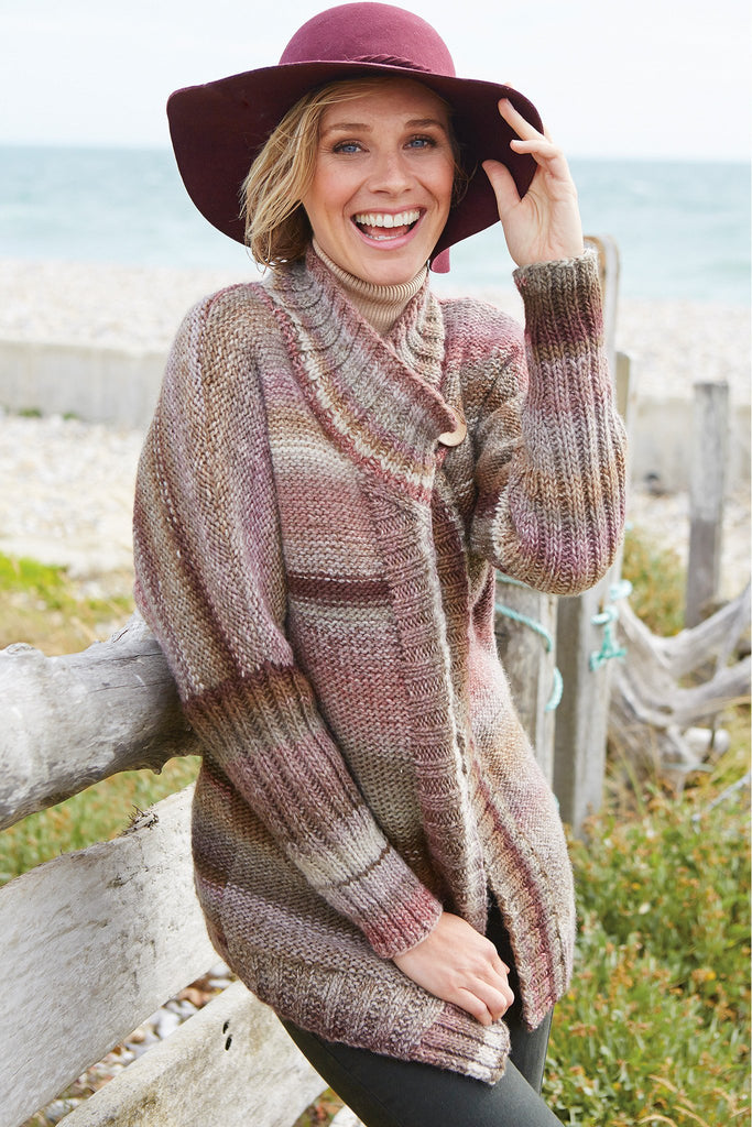 Knitted jacket for women with sleeves ribbed to elbow in random yarn