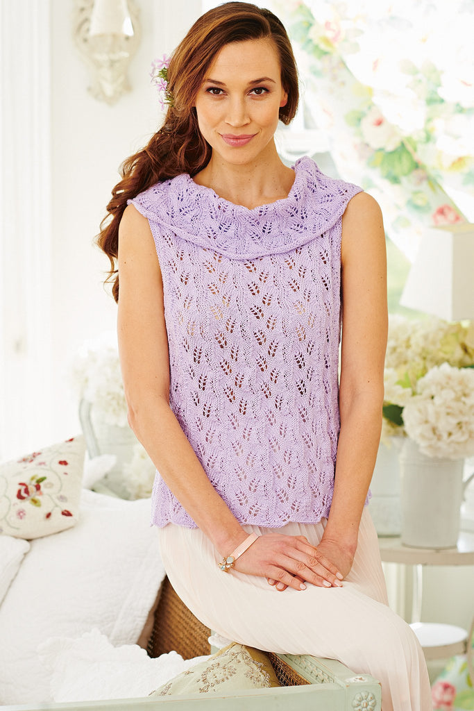 Sleeveless knitted lace top with deep cowl neck in lilac