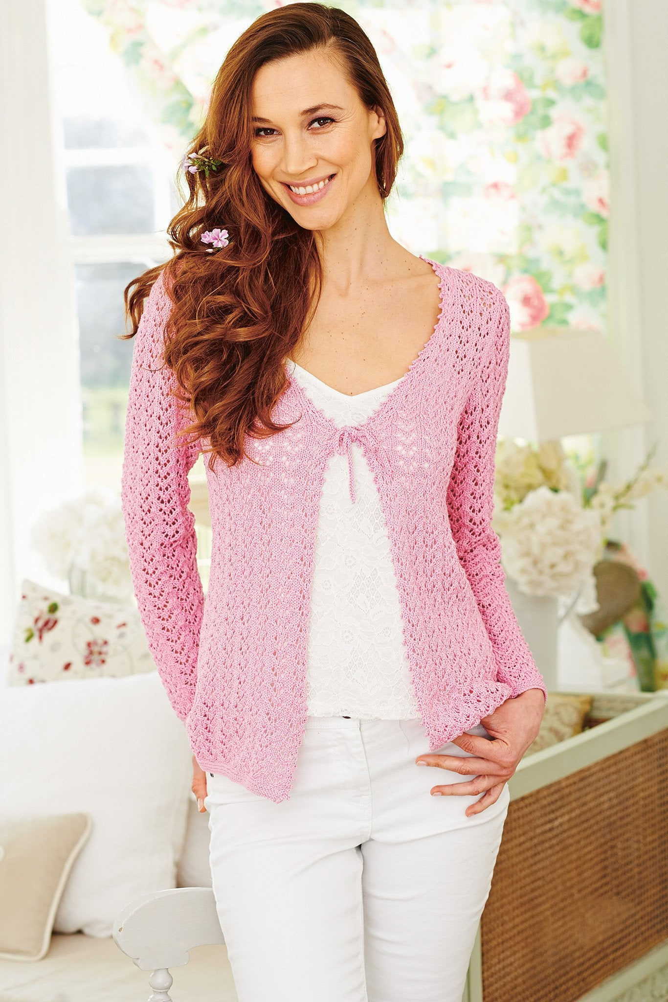 a000f73eb72f Knitted long-sleeved ladies  lace cardigan with tie fastening. Woman s  Weekly