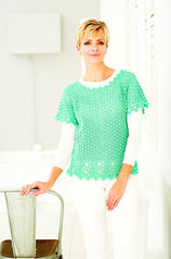 Green crochet ladies' top with picot edge