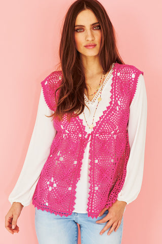 Crocheted ladies waistcoat in hot pink 4ply yarn