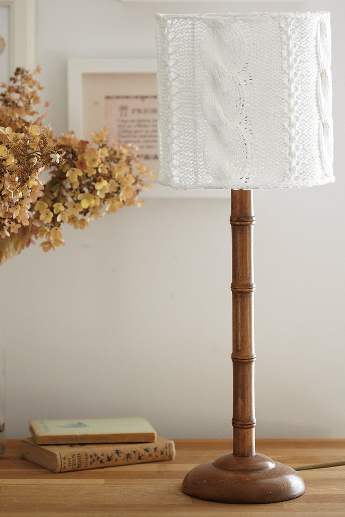 Cable knitted lampshade to fit 20cm x 20cm tubular frame