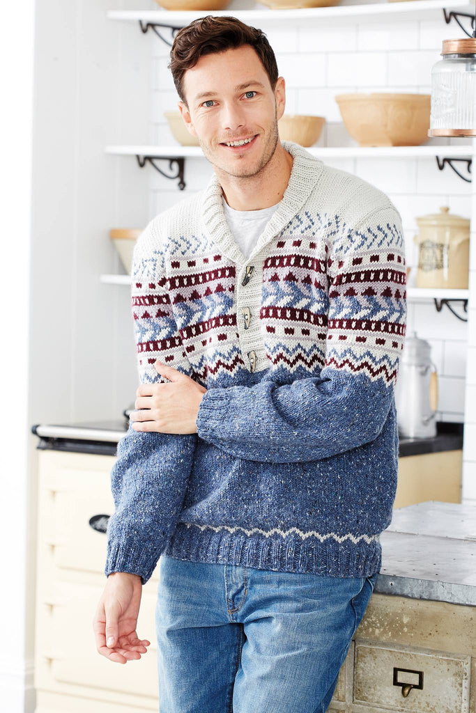 Knitted shawl collar jumper for men with shawl collar and Fair Isle pattern