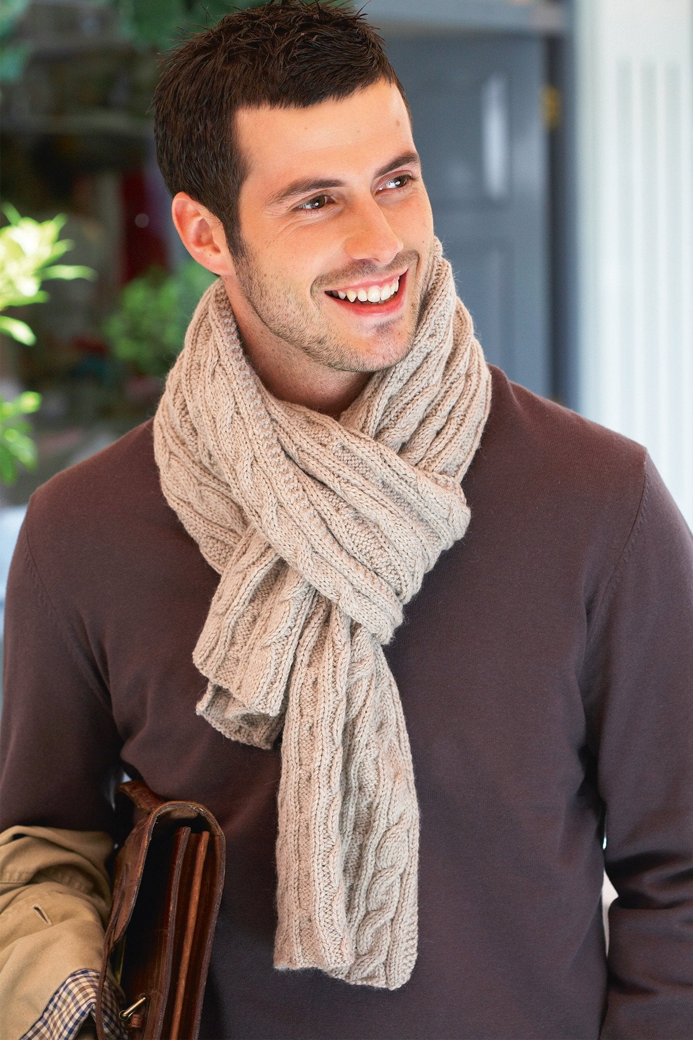 Mens Cable Scarf Knitting Pattern – The Knitting Network