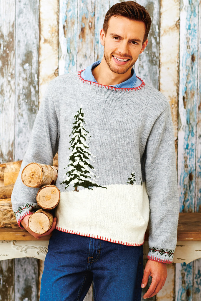 Grey knitted Christmas sweater for a man with design of a pine tree in snow