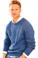 Retro 1960s knitted sweater for a man in blue cotton yarn