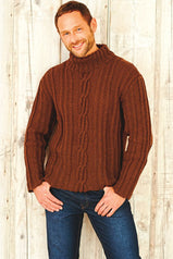 Knitted cable stitch sweater with roll neck collar for a man