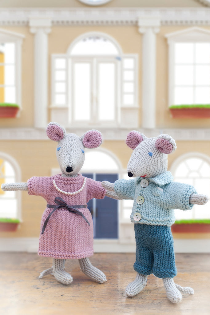 Sweet pair of knitted mice with adorable outfits for a boy and girl