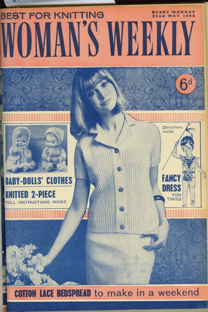 Cover of 1960s Woman's Weekly featuring retro women's cardigan with collar and matching skirt
