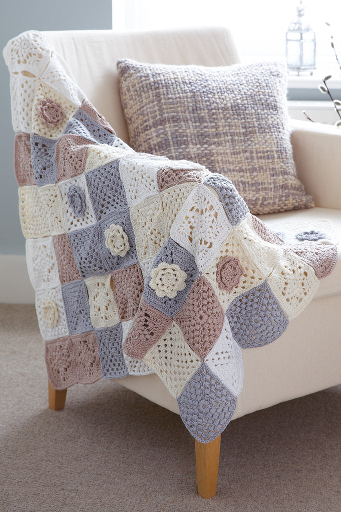 Crocheted patchwork blanket