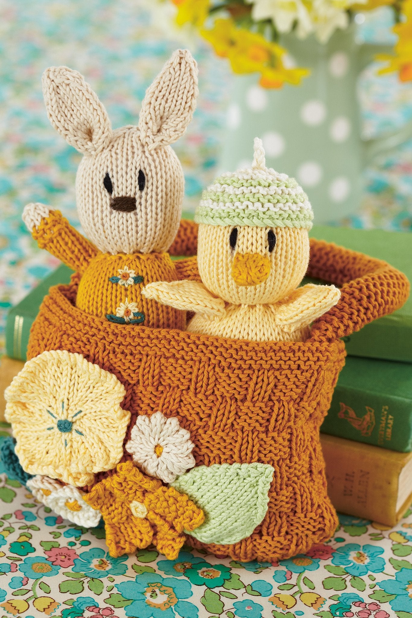 Rabbit And Chick In Basket Knitting Patterns The Knitting Network