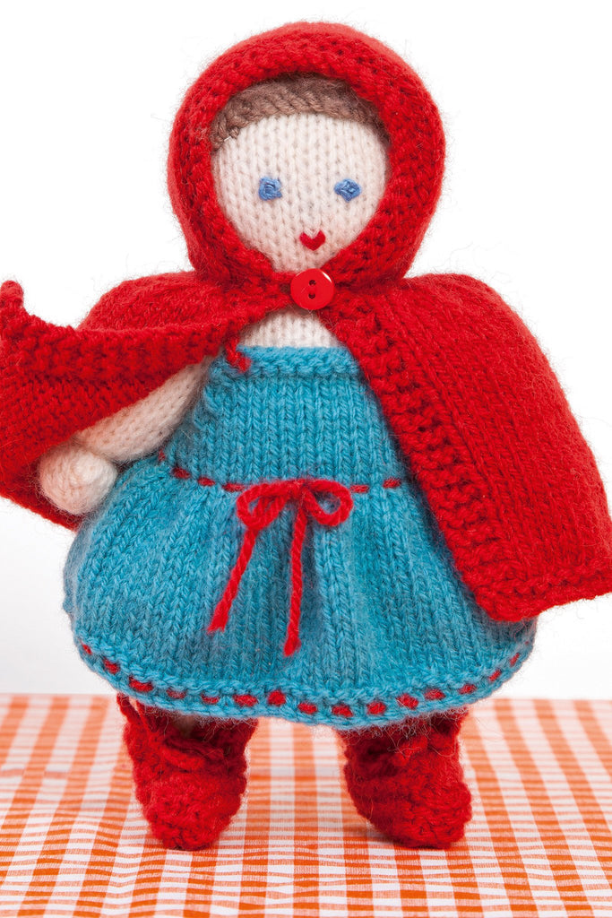 Red Riding Hood knitted doll with dress and scarlet cloak