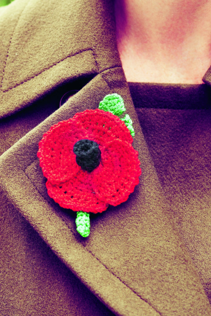 Red and green crocheted Remembrance Day poppy brooch tribute