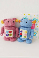 Pink and blue knitted robot toys