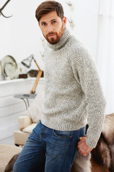 Roll Neck Jumper Vintage Mens Knitting Pattern The