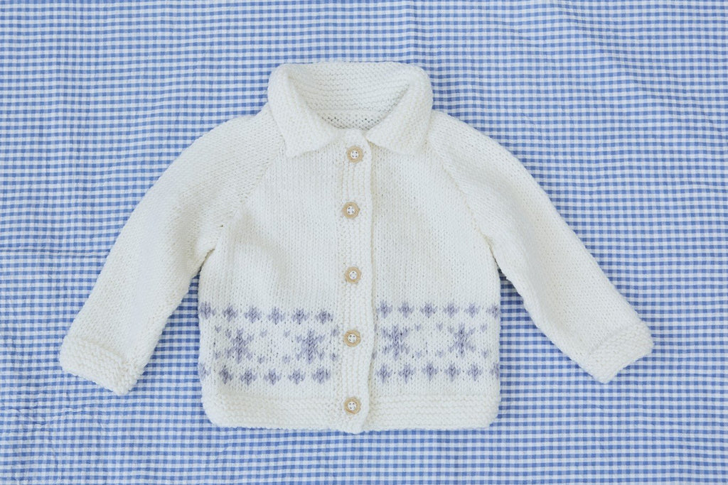 Baby Collared Jacket With Snowflake Motif Knitting Pattern The