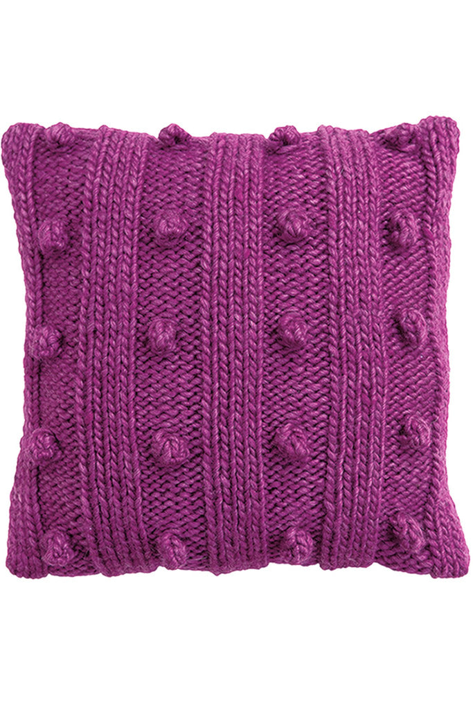 Knitted ribbed cushion cover with bobbles