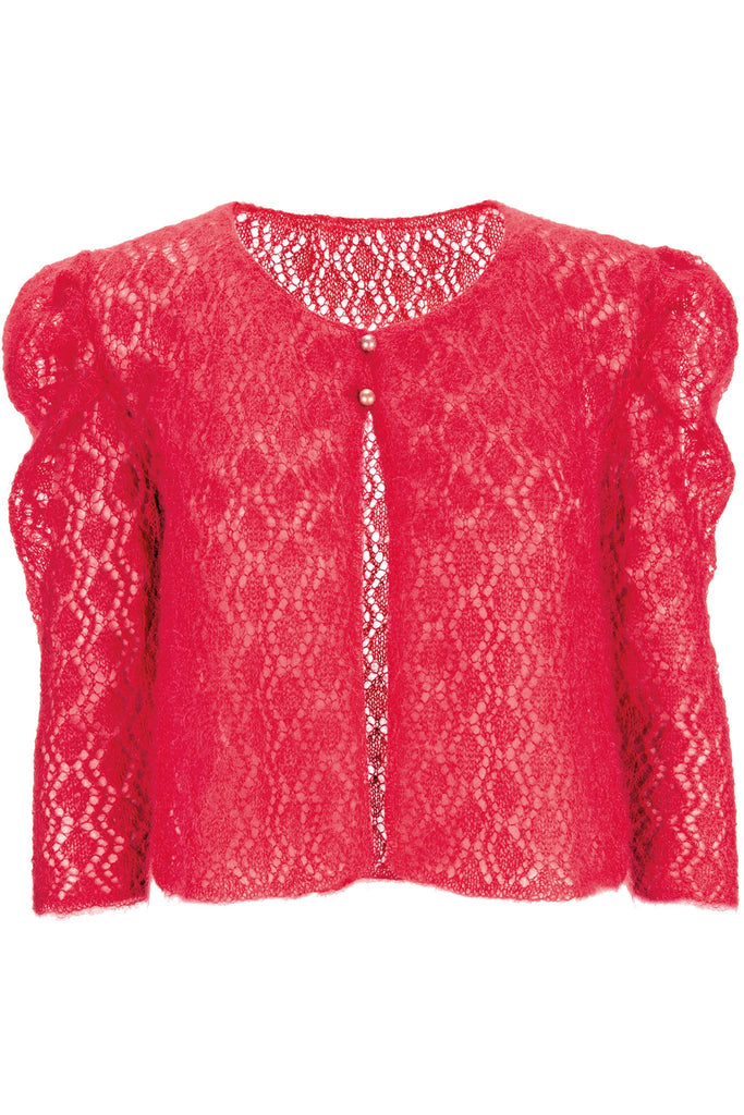 Short knitted lace mohair cardigan for women with puff sleeves and two button fastening at neck