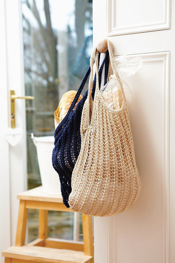 Knitted handy bag perfect for shopping or for the beach