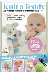 Front cover of Spotty Teddy Bear Knitting Kit With Yarn