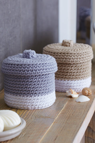 Crocheted storage pots with lids