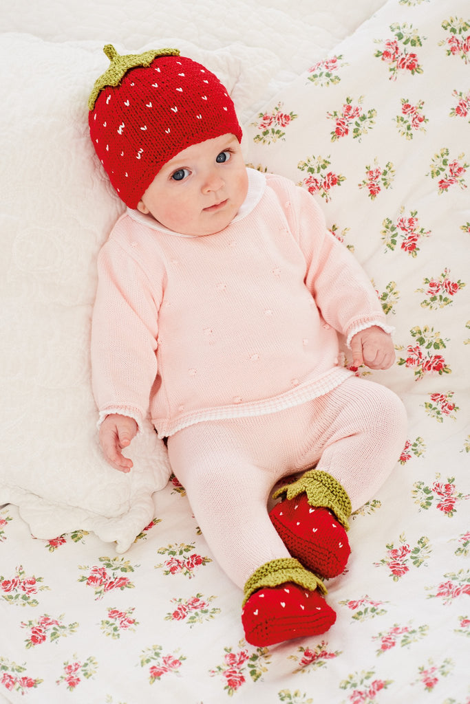 Intarsia Knitting Patterns For Children : Strawberry Baby Hat And Booties Knitting Pattern   The Knitting Network