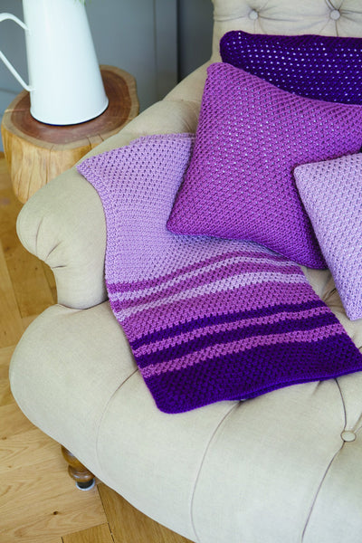 Striped Blanket And Cushion Cover Knitting Patterns The