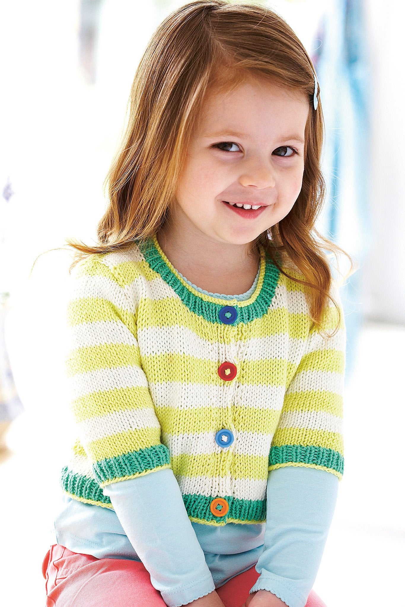 Striped Cardigan Girls Knitting Pattern – The Knitting Network