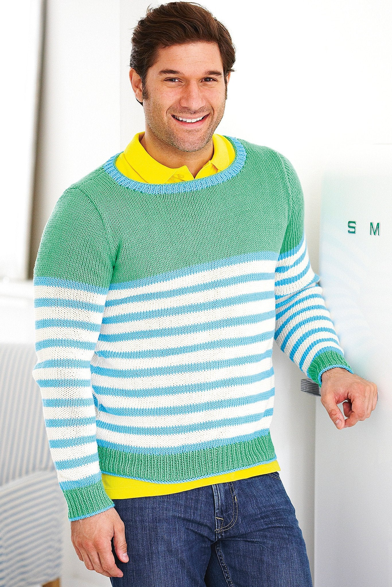 Striped Sweater Mens Knitting Pattern – The Knitting Network