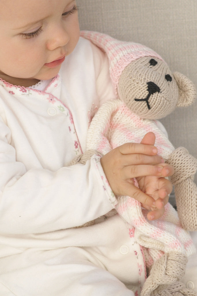 Knitted squishy teddy bear baby comforter with striped hat and body