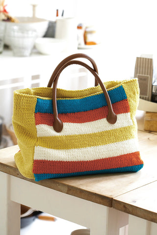 Bold striped knitted tote bag with two plain sides