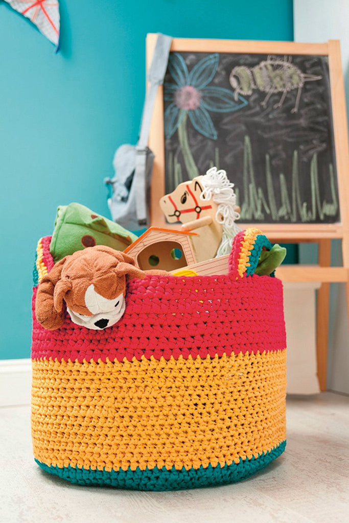 Cotton crochet basket for toys or other bits and bobs