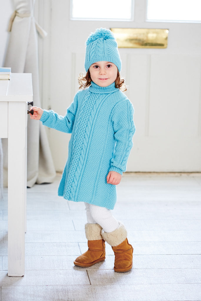 Retro long-sleeved sweater dress for a small girl with matching hat