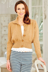 Short retro knitted cardigan with deep waist, buttoned front and collar
