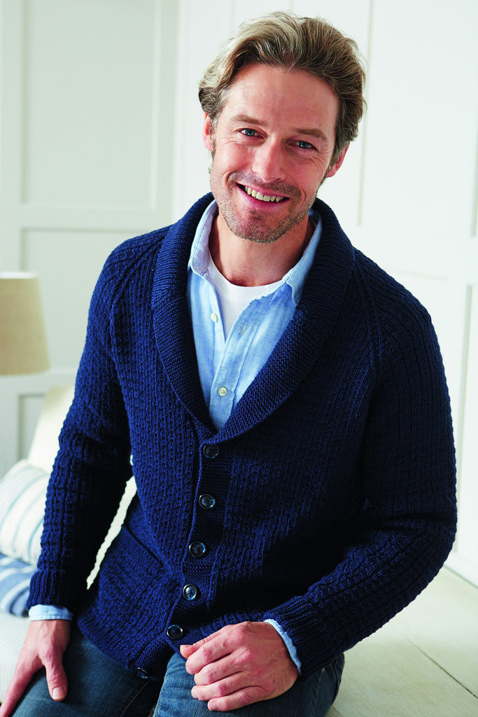 Navy knitted cardigan for men with collar