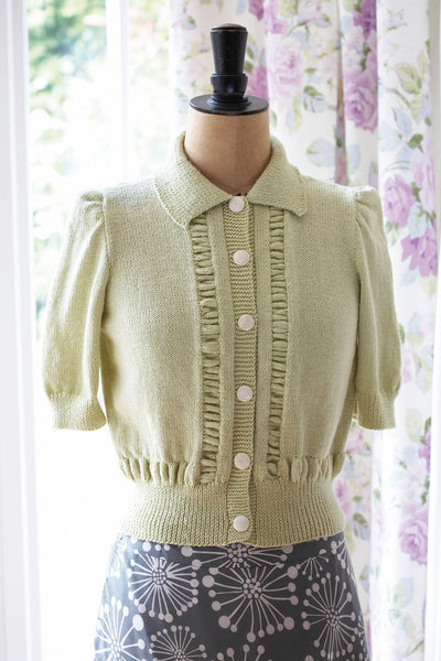 Vintage Short Sleeved Cardigan Knitting Pattern The